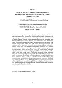 Konflik Sosial Antara Ojek Online Dan Ojek Konvensional Ojek